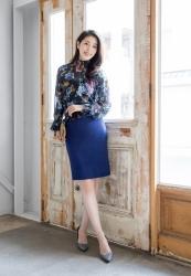 哉子曾是寶塚歌劇團的一員,目前是她在日本『成熟女性服裝模特兒・芭蕾舞教練』,她穿著『(帶有花卉圖案)黑色襯衫』,她穿著藍色裙子,她的身高是173厘米,身材高挑,她的身材十分俏麗。
