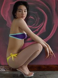 悠羽冴是日籍美麗可愛年輕『凹版偶像・女演員』,穿著『紫色胸罩・黃色女內褲』組成比基尼泳衣,她蹲著。